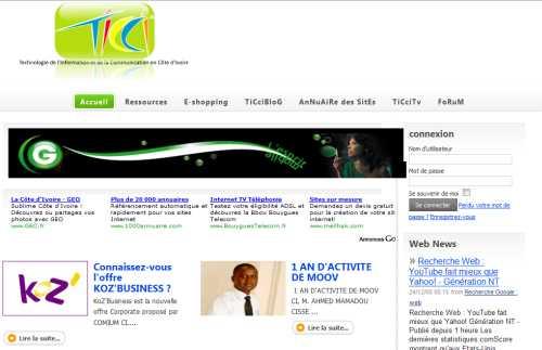 Le portail des nouvelles technologies de l'information et de la communication  en Côte d'Ivoire